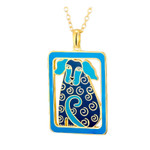 Dog Tails Laurel Burch Necklace Blue - Silver 5072