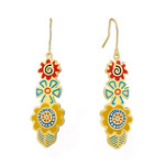 Multi Colors Blossoms Laurel Burch Earrings - 5096