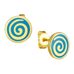 Teal Swirl Stud Post Laurel Burch Earrings - 6041