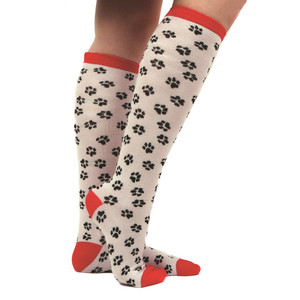 Knit Pawprint Sox White Socks 40079W