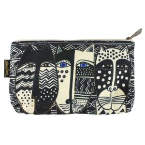 Laurel Burch 10x6 Cosmetic Bag Wild Cat Black White LB5804C