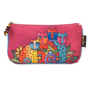 Laurel Burch Three in One 3 in 1 Cosmetic Bag Feline Clan Cat Dots Medium