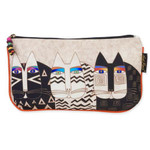 Laurel Burch Set of 3 Cosmetic Bag Wild Cat Faces Large