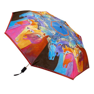 Laurel Burch Compact Folding Umbrella Wild Horses of Fire