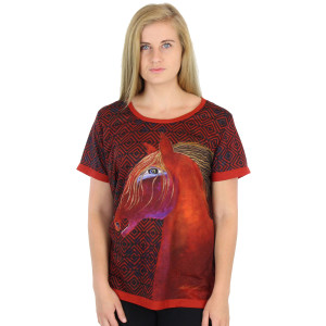 Laurel Burch Tee Shirt Red Mare LBT044