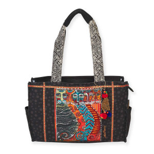 Laurel Burch Gatos Feline Cats Medium Pocket Tote