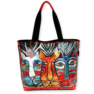 Laurel Burch Foiled Gatos Feline Cats Shoulder Tote