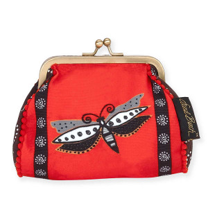 Laurel Burch Coin Purse Red Dragonfly