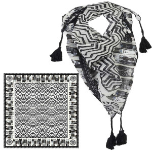 Laurel Burch Wild Cats Black White Artistic Square Tassels Scarf