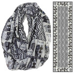 Laurel Burch Wild Cats Black White Artistic Infinity Scarf