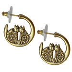 Twin Cats Cast Gold Tone Laurel Burch Earrings - 4049B