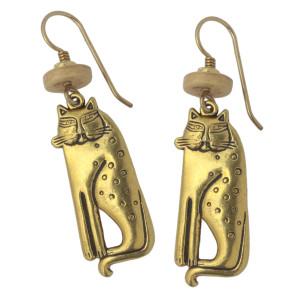 Laurel Burch Siamese Cat GoldTone Cast Drop Earrings - 4038L