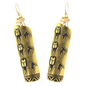 Hieroglyphic Cats GoldTone Cast Laurel Burch Drop Earrings - LBJ002G
