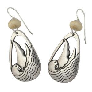Laurel Burch Seabird Bird Drop Cast SilverTone Earrings - LBJ001S
