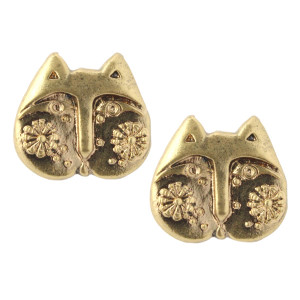 Laurel Burch Blossom Flower Cat Face Post Earrings Goldtone - LB1002STUD