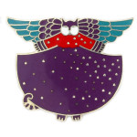 "Laurel Burch ""Angelicat"" Cat Enamel Goldtone Pin - LBP003E"