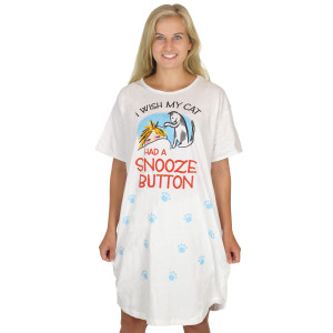 "Cat Theme Sleep Shirt Pajamas ""Wish Cat Had Snooze Button"" - 370OT"