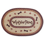 Wipe Your Paws 20x30 Hand Printed Oval Braided Floor Rug OP-081