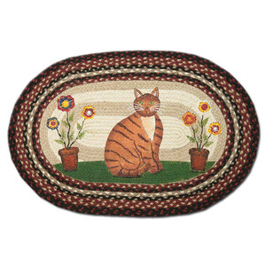 Folk Art Cat 20x30 Hand Printed Oval Braided Floor Rug OP-344