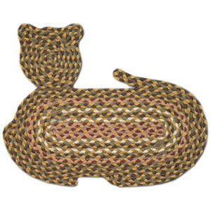 "Braided Cat Shaped Jute Rug 14.5""x19.5"" CT-324 Green/Gold/White/Red"
