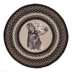 "Dakota Round Patch Jute Dog Rug 27"" RP-313 - Brown/Black"