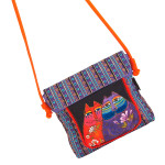 Laurel Burch Two Wishes Cats Felines Flap Over Crossbody Tote - LB5904F