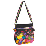 Laurel Burch Dancing Hearts Canvas Crossbody Tote - LB6013