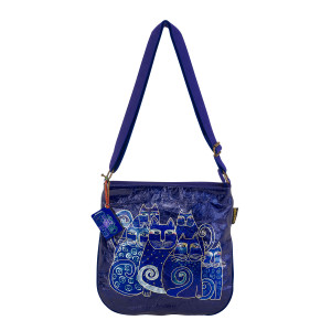 Laurel Burch Indigo Cats Foiled Canvas Crossbody Tote - LB6251