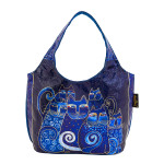 Laurel Burch Indigo Cats Foiled Canvas Small Scoop Tote - LB6250
