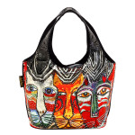 Laurel Burch Gatos Cats Foiled Canvas Small Scoop Tote - LB6270