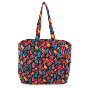 Laurel Burch Multi Feline Quilted Cotton Large Shoulder Tote - LB6301