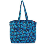 Laurel Burch Indigo Cats Quilted Cotton Large Shoulder Tote - LB6316