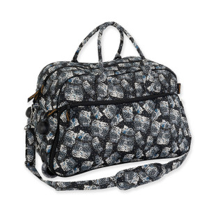 Laurel Burch Black White Polka Dot Wild Cats Quilted Cotton Wheeled Duffle Bag LB6334