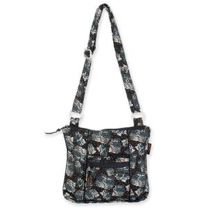 Laurel Burch Black White Polka Dot Wild Cats Quilted Cotton N/S Crossbody Bag LB6338