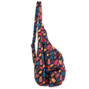 Laurel Burch Multi Feline Cats Quilted Cotton Sling Tote Bag LB6311