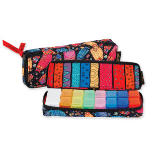 Laurel Burch Multi Feline Cats Quilted Cotton 7 Day Pill Organizer Bag LB6313