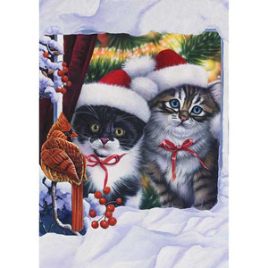 "Cat Holiday Garden Flag ""Kittens in the Window"" - 110559"