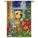 Peaceful Pet Christmas House Flag 132078