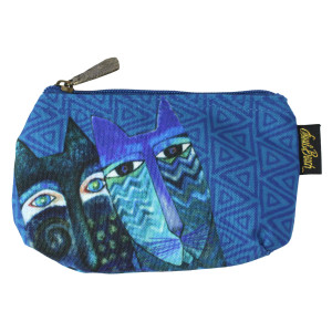 Laurel Burch BLUE Cats 7x4 Cosmetic Bag LB6221A