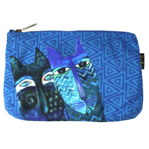 Laurel Burch BLUE Cats 10x6 Cosmetic Bag LB6221C