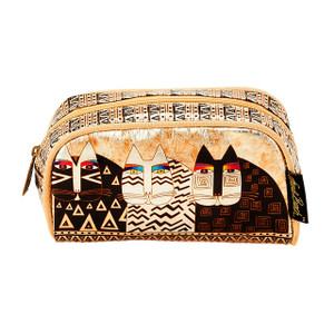 Laurel Burch Feline Ancestral Cats Foil Cosmetic Bag LB6210B