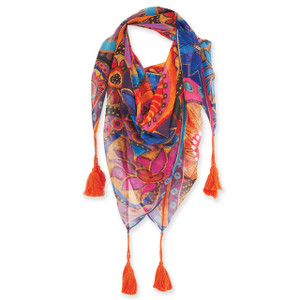 Laurel Burch Circle Floral Flowers Artistic Square Tassels Scarf LBSQ310