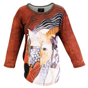 Laurel Burch 3/4 Sleeve Tee Shirt Moroccan Mares LBT054