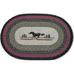 Horse 20x30 Hand Printed Oval Braided Floor Rug
