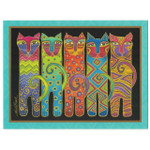 Laurel Burch Birthday Greeting Card - Tall Cats - Front