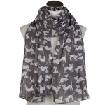 Charcoal and White Cats Scarf