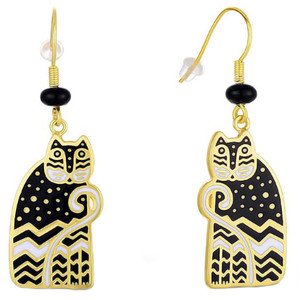 Polka Dot Gatos Cat Feline Laurel Burch Drop Earrings Black - 5144