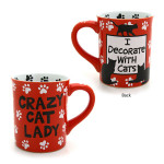 "Cat Theme Mug ""Crazy Cat Lady"" Red - 4026109"