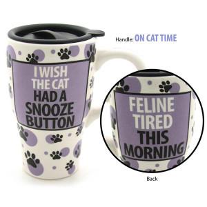 "Cat Ceramic Travel Mug ""Snooze Button"" 4031112"