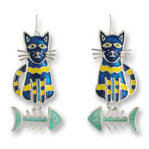 Calypso Cat-Fish Silver Drop Earrings 01-13-Z1